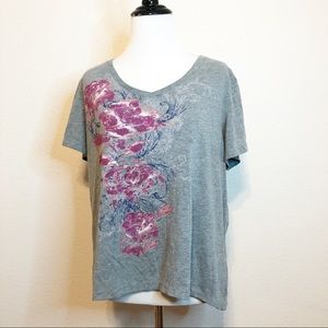 Sonoma Lifestyle Top Gray Pink Floral T-Shirt V